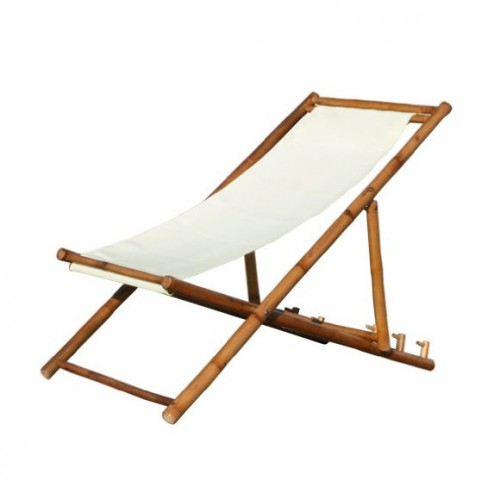 Strandstuhl aus Bambus mit Baumwollbezug